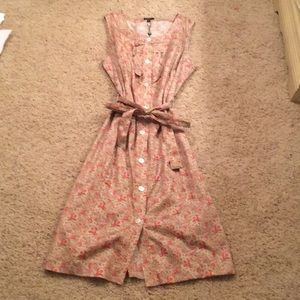 Talbots tan/pink sleeveless button down dress